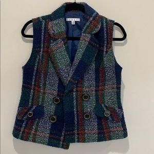 CAbi # 908 Blue Multi Plaid Wool Blend Lined Vest